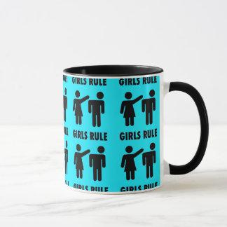 Funny Girls Rule Teal Turquoise Blue Girl Power Mug