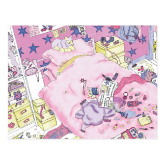 Funny Girls Teenager Bedroom Pink From Above Art Postcard