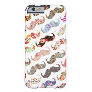 Funny Girly Colorful Patterns Mustaches Barely There iPhone 6 Case