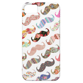 Funny Girly  Colorful Patterns Mustaches Case For The iPhone 5