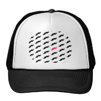 Funny Girly Pink  And Black Mustache Pattern Cap