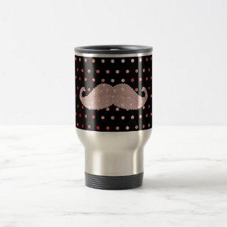 Funny Girly Pink Bling Moustache Polka Dots Stainless Steel Travel Mug