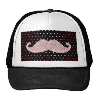 Funny Girly Pink Bling Mustache Polka Dots Pattern Hats