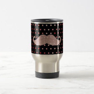 Funny Girly Pink Bling Mustache Polka Dots Pattern Stainless Steel Travel Mug