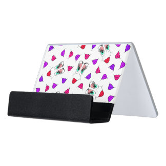 Funny Girly Pink Red Smiley Face and Lips Pattern Desk Business Card Holder