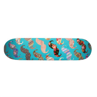 Funny Girly Turquoise Floral Aztec Mustaches Skateboard Decks