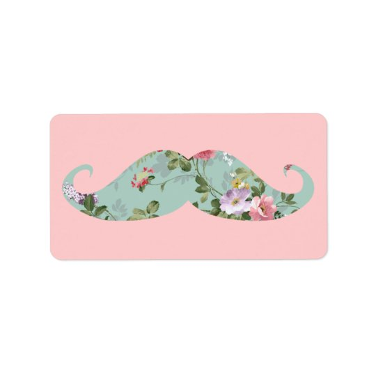 Funny Girly Vintage Red Pink Floral Moustache Label