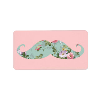 Funny Girly Vintage Red Pink Floral Mustache Address Label