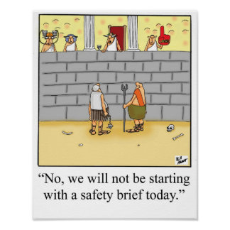 Funny Gladiator  Safety Brief Poster