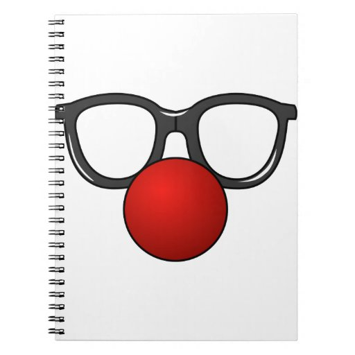 Funny Glasses With Red Funny Nose Spiral Note Book