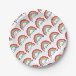 Funny Go Away Rainbow Slogan 7 Inch Paper Plate