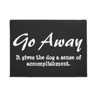 Funny Go Away Welcome Mat - dog
