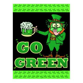 "Funny ""Go Green"" Drinking Leprechaun Postcard"