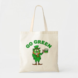 "Funny ""Go Green"" Drunk Leprechaun Bag"