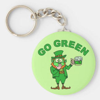 "Funny ""Go Green"" Leprechaun Beer Basic Round Button Key Ring"