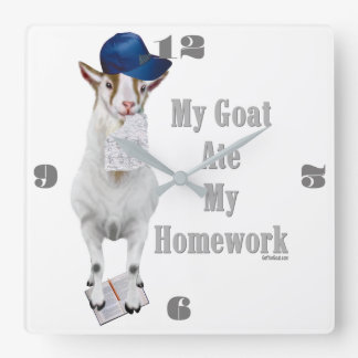 Funny Goat Ate My Homework Square Wall Clock