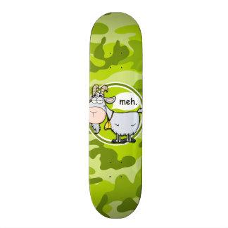 Funny Goat; bright green camo, camouflage Skate Board Deck