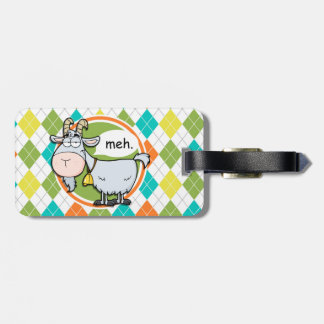 Funny Goat; Colorful Argyle Pattern Luggage Tag