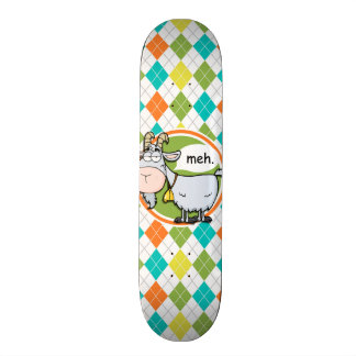 Funny Goat; Colorful Argyle Pattern Skate Board