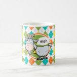 Funny Goat; Colourful Argyle Pattern Basic White Mug
