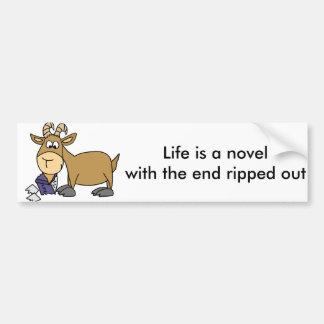 Funny Goat eating Book Cartoon Bumper Sticker