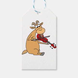 Funny Goat Playing Fiddle Cartoon Gift Tags
