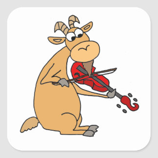 Funny Goat Playing Fiddle Cartoon Square Sticker