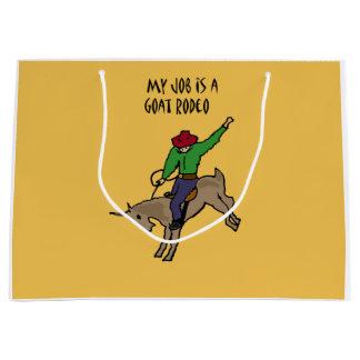 Funny Goat Rodeo Job Humor Cartoon Large Gift Bag