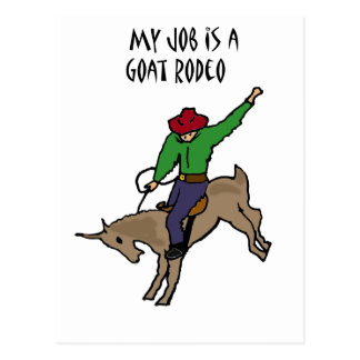 Funny Goat Rodeo Job Humor Cartoon Postcard