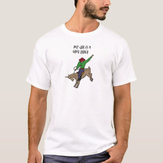 Funny Goat Rodeo Job Humour Cartoon T-Shirt