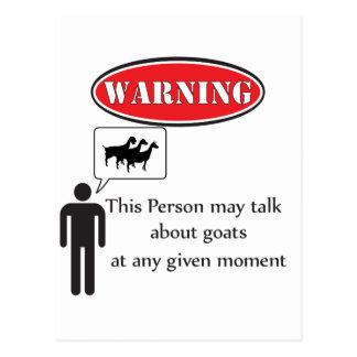 Funny Goat Warning Postcard