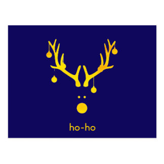 Funny gold abstract Christmas reindeer on blue Postcard