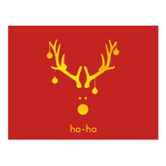 Funny gold abstract Christmas reindeer on red Postcard