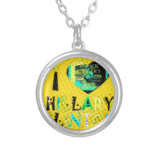 Funny Golden lovey Amazing Hope Hillary for USA Co Silver Plated Necklace