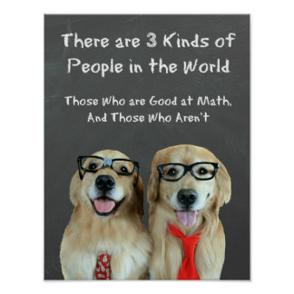 Funny Golden Retriever Math Joke Classroom Poster