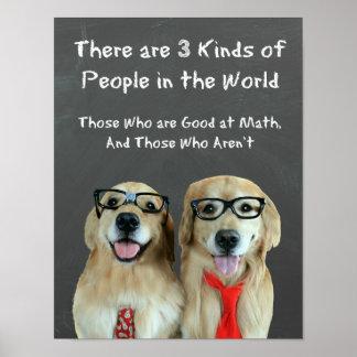 Funny Golden Retriever Math Joke Classroom Poster