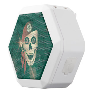 Funny golden suger skull with red headscarf white boombot rex bluetooth speaker