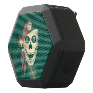 Funny golden suger skull with red headscarf black boombot rex bluetooth speaker
