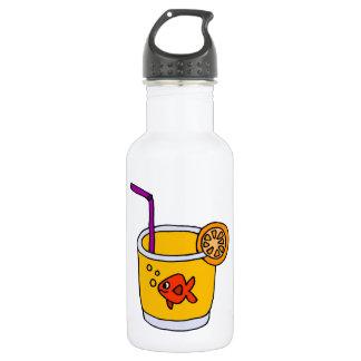 Funny Goldfish in Orange Juice Glass 532 Ml Water Bottle