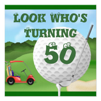 Funny Golf  50th Birthday Invitations TEMPLATE