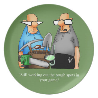 Funny Golf Cartoon Humor Plate Gift