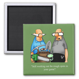 Funny Golf Cartoon Square Magnet