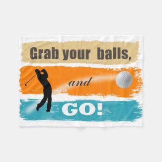 Funny Golf Grab Your Balls Fleece Blanket
