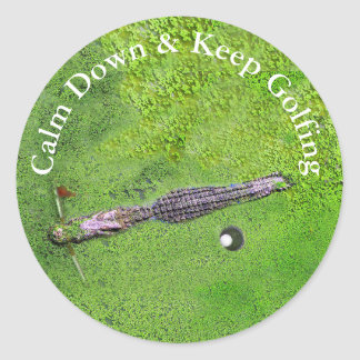 FUNNY GOLFER STICKER, CALM DOWN & KEEP GOLFING CLASSIC ROUND STICKER