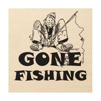Funny Gone Fishing Wood Wall Art