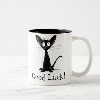 Funny Good Luck Black Cat Two-Tone Coffee Mug