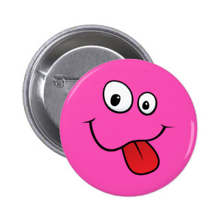 Funny goofy smiley sticking out his tongue, pink pinback buttons