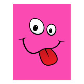 Funny goofy smiley sticking out his tongue, pink postcard