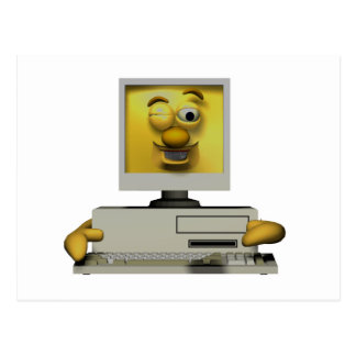 funny goofy winking computer post cards