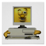 funny goofy winking computer posters